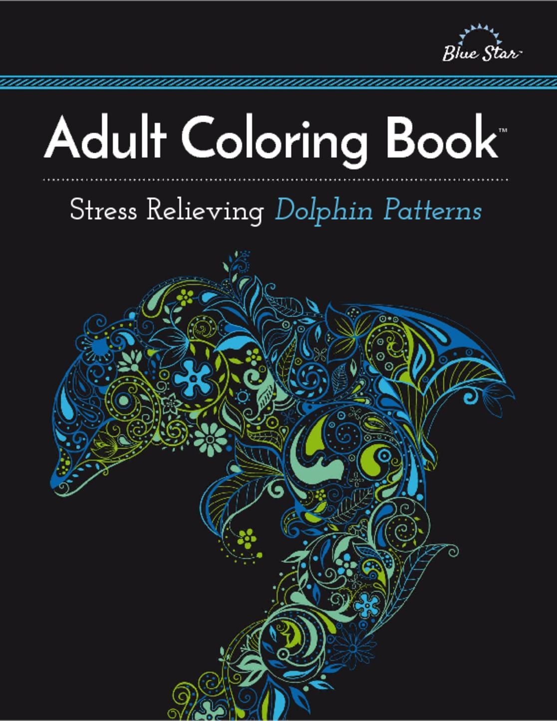 Adult Coloring Book Stress Relieving Dolphin Patterns Digital