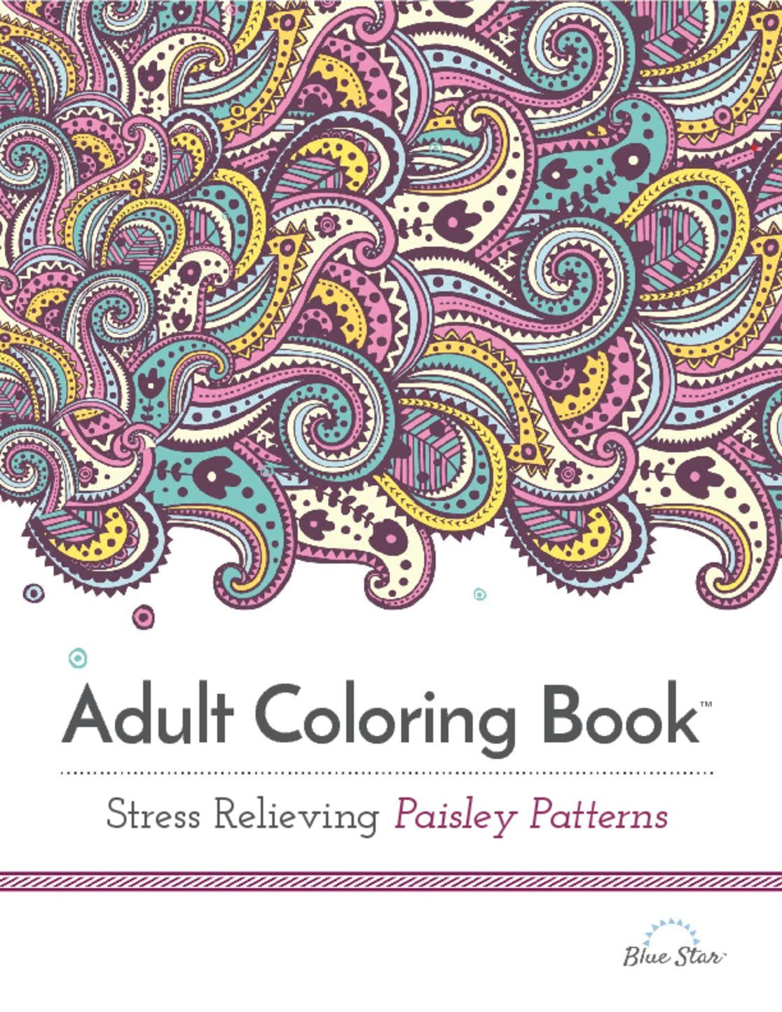 Adult Coloring Book Stress Relieving Paisley Patterns Digital
