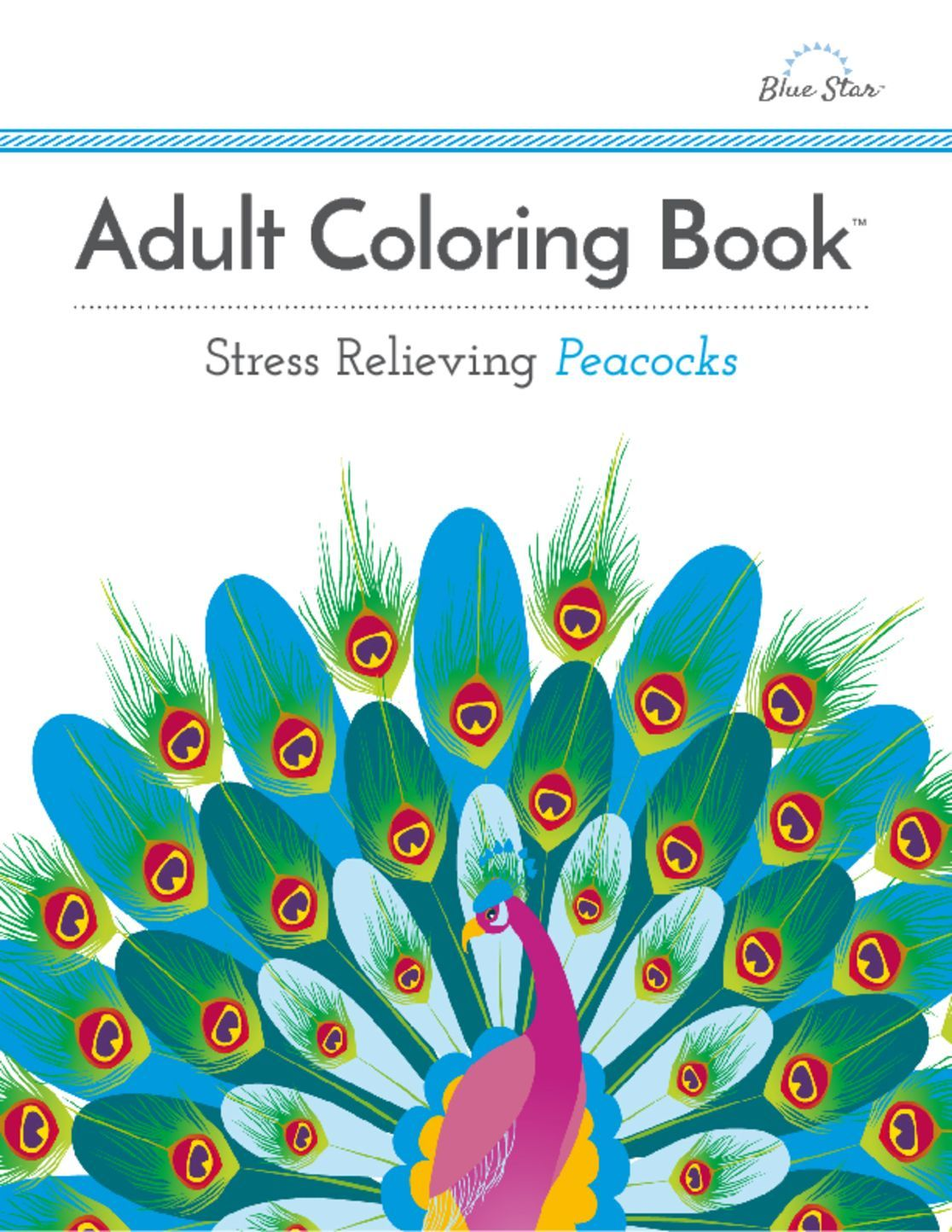 Adult Coloring Book Stress Relieving Peacocks Digital