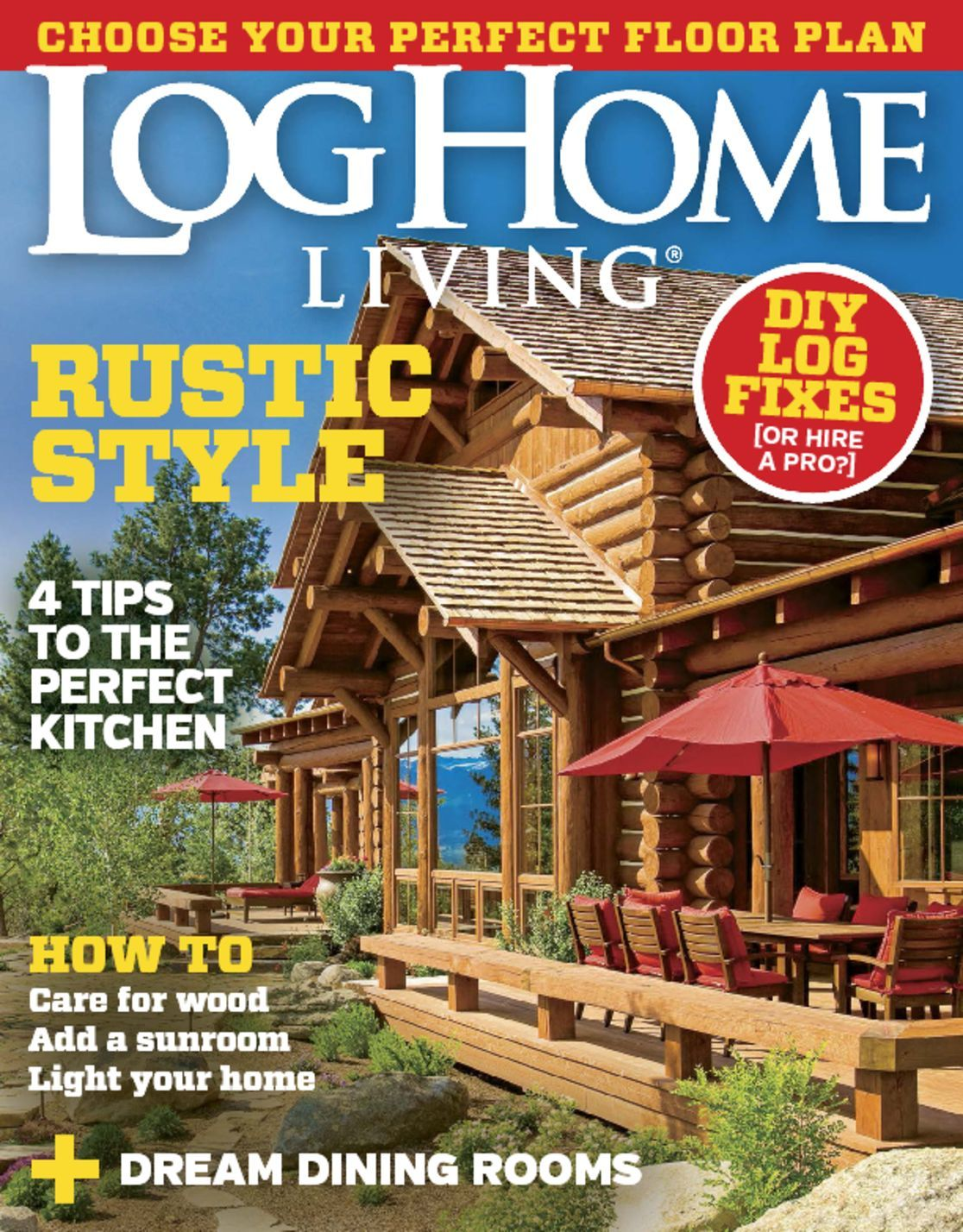 4916 log home living cover 2015 november for Log homes magazine