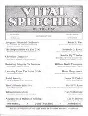 Vital Speeches of the Day Magazine